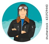 male pilot in jacket and... | Shutterstock .eps vector #631929440