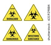 warning yellow signs in... | Shutterstock .eps vector #631929884