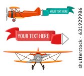 two biplanes with advertising... | Shutterstock .eps vector #631929986
