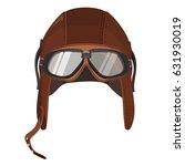 brown aviator hat with goggles...   Shutterstock .eps vector #631930019