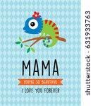 cute chameleon mother day...   Shutterstock .eps vector #631933763
