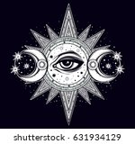 hand drawn all seeing eye is on ... | Shutterstock .eps vector #631934129