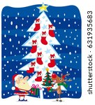 santa claus  raindeer and sock   Shutterstock .eps vector #631935683