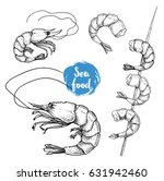 hand drawn sketch style seafood ... | Shutterstock .eps vector #631942460