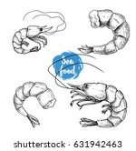 hand drawn sketch style seafood ... | Shutterstock .eps vector #631942463