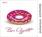 donut with pink icing picture... | Shutterstock .eps vector #631944500