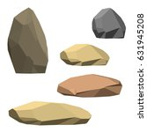 polygonal stone set. isolated... | Shutterstock .eps vector #631945208