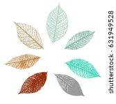a set of vector skeleton leaves ... | Shutterstock .eps vector #631949528