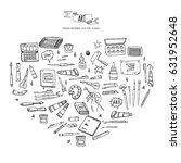 hand drawn doodle art and craft ... | Shutterstock .eps vector #631952648