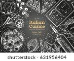 italian cuisine top view frame. ... | Shutterstock .eps vector #631956404