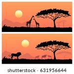 wild animals in the backdrop of ... | Shutterstock .eps vector #631956644