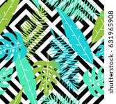 tropical pattern with palm... | Shutterstock .eps vector #631965908