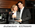 happy couple in modern wine... | Shutterstock . vector #631966640