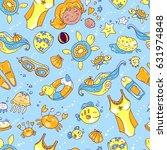 vector hand drawn seamless... | Shutterstock .eps vector #631974848