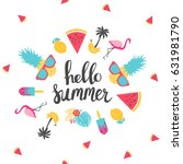 summer holiday cards. hand... | Shutterstock .eps vector #631981790