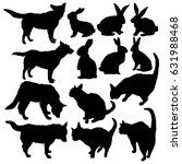 silhouette pets cat  dog ... | Shutterstock .eps vector #631988468