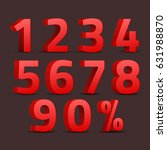 set of 3d red numbers sign. 3d... | Shutterstock .eps vector #631988870