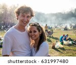 man and woman on a picnic... | Shutterstock . vector #631997480