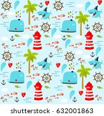 vector sea background. marine... | Shutterstock .eps vector #632001863