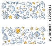 space  satellite  moon  stars ... | Shutterstock .eps vector #632004863