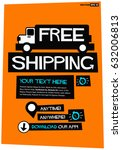free shipping poster with truck ...   Shutterstock .eps vector #632006813