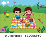 picnic fun. vector illustration.... | Shutterstock .eps vector #632006960
