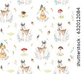 cute baby foxes and deer animal ... | Shutterstock . vector #632012084