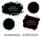 set of black paint  ink brush... | Shutterstock .eps vector #632012210