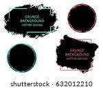set of black paint  ink brush... | Shutterstock .eps vector #632012210