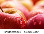 fresh raw lot of red apples ... | Shutterstock . vector #632012354