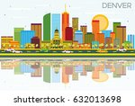 denver skyline with color... | Shutterstock .eps vector #632013698