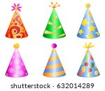 colorful party hat icons | Shutterstock .eps vector #632014289