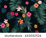 seamless hand drawn tropical... | Shutterstock .eps vector #632032526