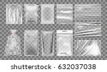 big set of transparent empty... | Shutterstock .eps vector #632037038
