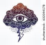 hand drawn all seeing eye with... | Shutterstock .eps vector #632044178