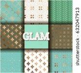 set of 9 seamless modern... | Shutterstock .eps vector #632047913