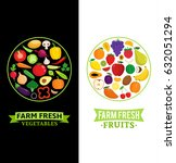 vector vegetables and fruits... | Shutterstock .eps vector #632051294