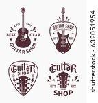 Set Of Vector Guitar Shop Logo...