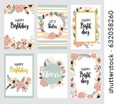 vintage birthday set design... | Shutterstock .eps vector #632058260