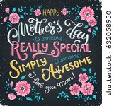 happy mothers day greeting card.... | Shutterstock .eps vector #632058950