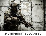 army ranger moving along the...   Shutterstock . vector #632064560