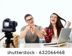 young bloggers editat in front... | Shutterstock . vector #632066468