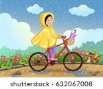 girl in raincoat riding on a... | Shutterstock .eps vector #632067008