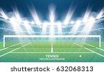 tennis court with green grass... | Shutterstock .eps vector #632068313