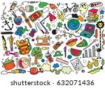 hand drawing doodle  vector... | Shutterstock .eps vector #632071436