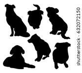 black silhouettes of dogs on a... | Shutterstock .eps vector #632072150