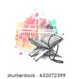 the holy book of the koran on... | Shutterstock .eps vector #632072399