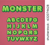 green comic font from a typeset ... | Shutterstock .eps vector #632074628