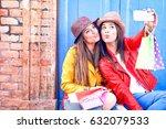 best friends women taking... | Shutterstock . vector #632079533