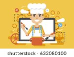 stock vector illustration chef... | Shutterstock .eps vector #632080100
